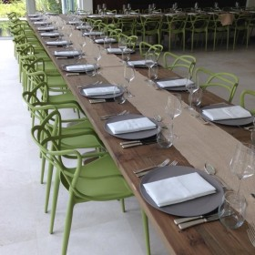 Matrix green chairs with Chambord table