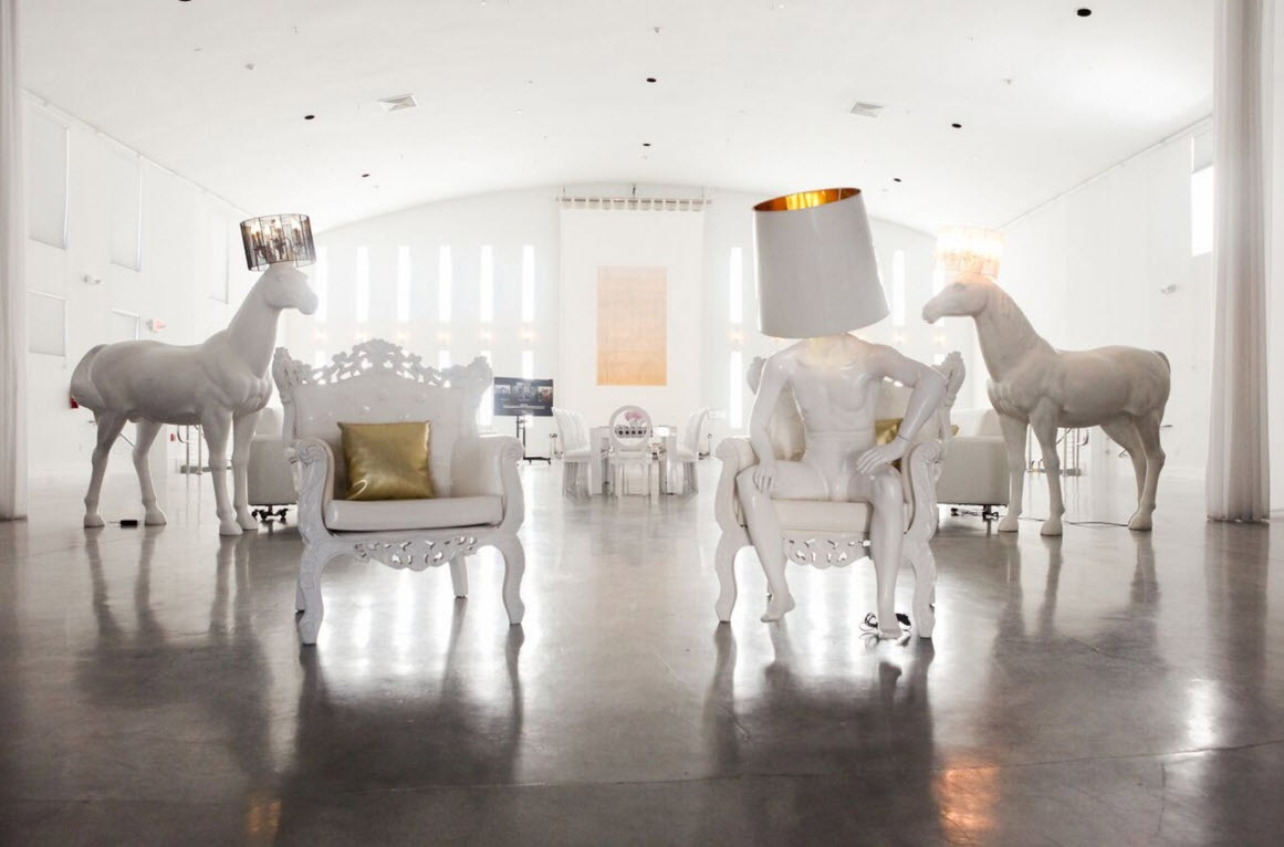 Horse lamp life sized white bubble miami 84l x 36w x 84h mozeypictures Gallery