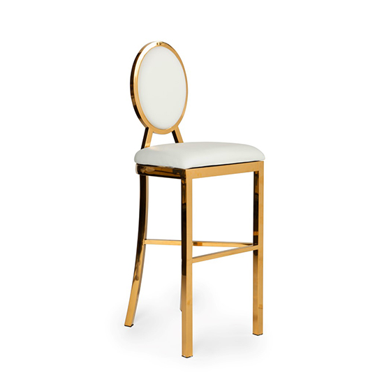 Alice Bar Stool White Gold Frame