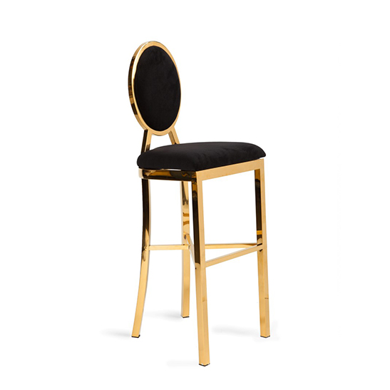 Alice Barstool Black With Gold Frame Bubble Miami